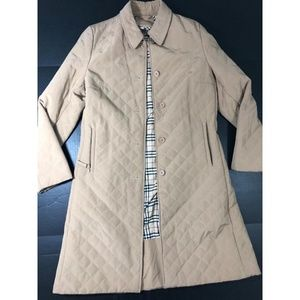 Beige Quilted EUR sz 44 Button Down Long Italy 58E